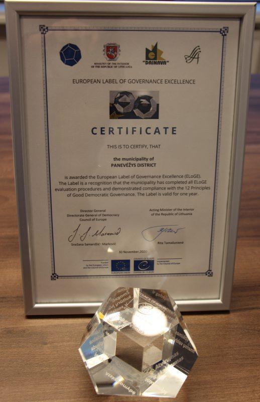 Europos Tarybos ženklas savivaldybei suteiktas už nepriekaištingą valdymą