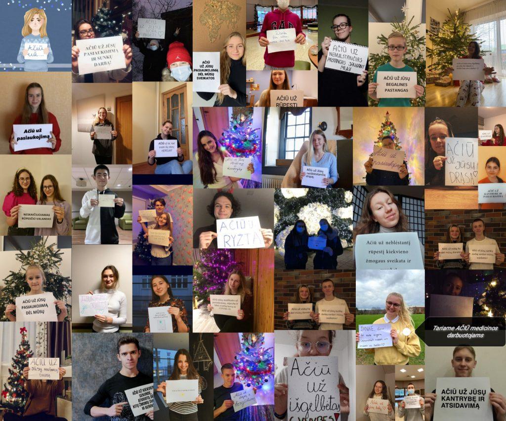 """Prie """"Baltų Kalėdų"""" organizuojamoje solidarumo akcijoje """"Tark """"AČIŪ"""" medicinos darbuotojams"""" prisidėjo didelis būrys žmonių iš visų pasaulio kraštų"""