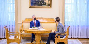 Prezidentas susitinka su Seimo PirmininkeViktorija Čmilyte-Nielsen / Prezidentūros nuotr.