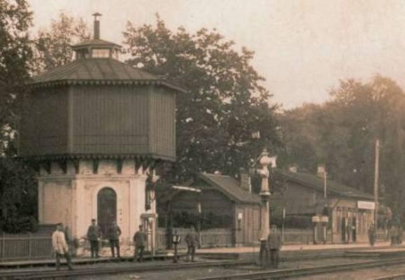 Geležinkelio stotis ir vandens bokštas 1917 m.