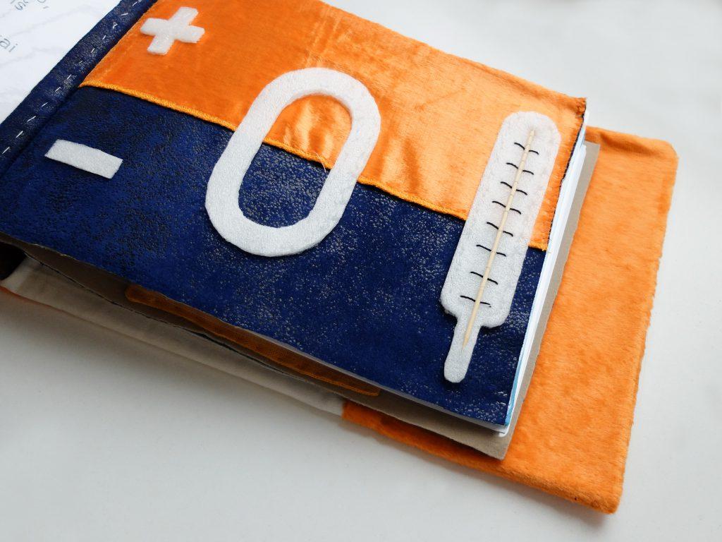 Iliustracija termometras iš taktilinės knygelės Laimė yra lapė
